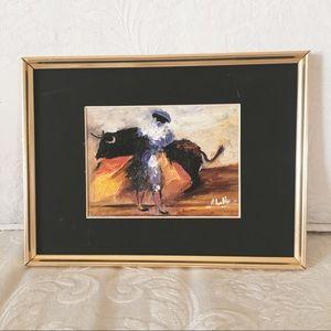 Hand Painted Bullfighter Scene - Painting